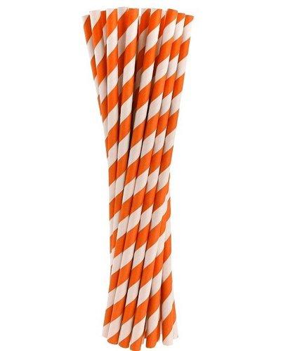 Papierstrohhalme orange gestreift - 24 Stück