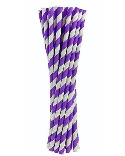 Papierstrohhalme lila gestreift - 24 Stück