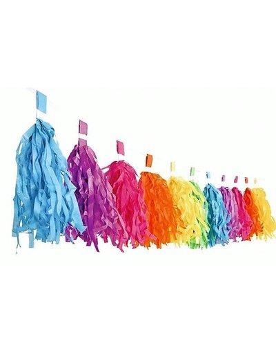 Magicoo Fransengirlande in Regenbogenfarben - 22x300 cm