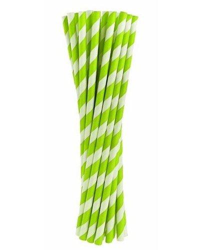 Magicoo Papierstrohhalme grün gestreift - 24 Stück