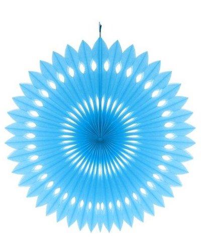 Papierfächer blau - 40 cm