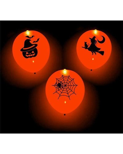 Magicoo Orangene Halloween Leucht-Ballons mit LED - 4 Stück