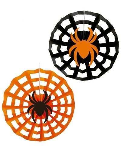 Magicoo Halloween Papierfächer schwarz-orange - 3 Stück
