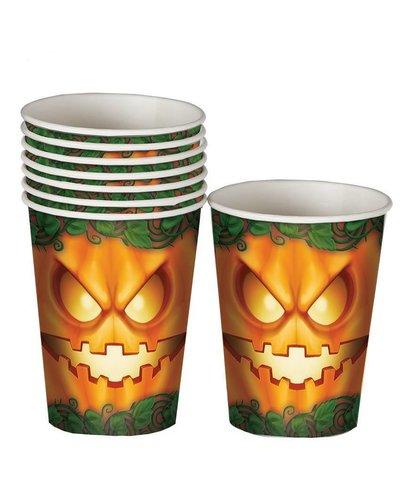 Halloween Becher mit Kürbis-Gesicht grün-orange - 8 Stück