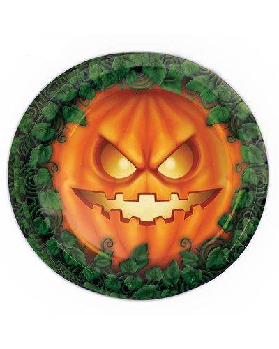 Halloween Teller mit Kürbis-Motiv grün-orange