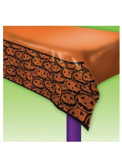 Magicoo Halloween Tischdecke orange mit lachenden Kürbissen