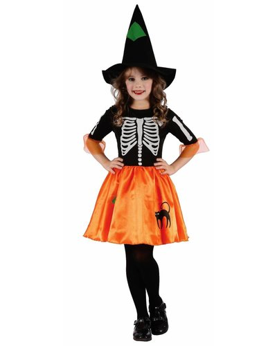 Magicoo Skeletthexe - Hexenkleid mit Hut schwarz-orange