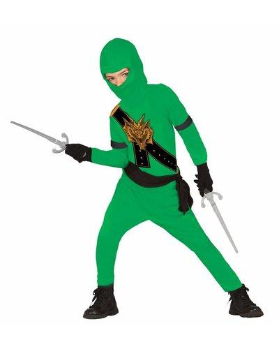 Magicoo Ninja Kostüm für Kinder grün mit Dragon-Print