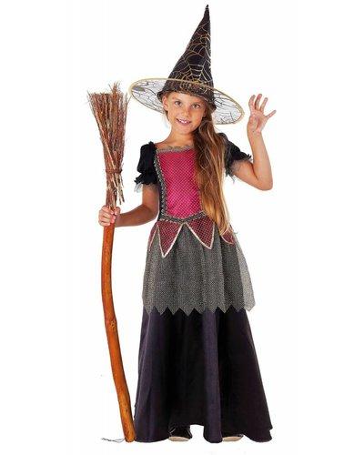 Magicoo Deluxe Hexenkostüm rosa-gold-schwarz mit Hut