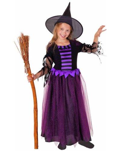 Magicoo Deluxe Hexenkostüm lila-schwarz mit Hut