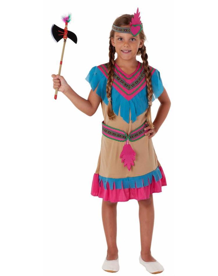 Indianer Kostum Fur Madchen Beige Pink Blau Magicoo De Magicoo