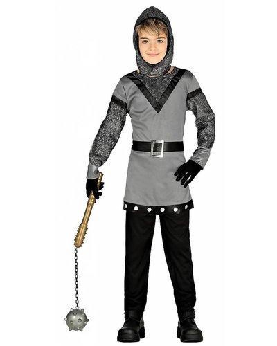 Ritter Kostüm Kind silber-schwarz-grau