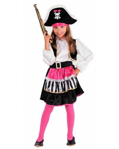Magicoo Piratenkostüm Mädchen rosa-weiß-schwarz