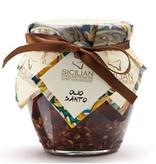 Pittige Olijfolie, gemaakt volgens Siciliaans recept ook wel Olio Santo genoemd