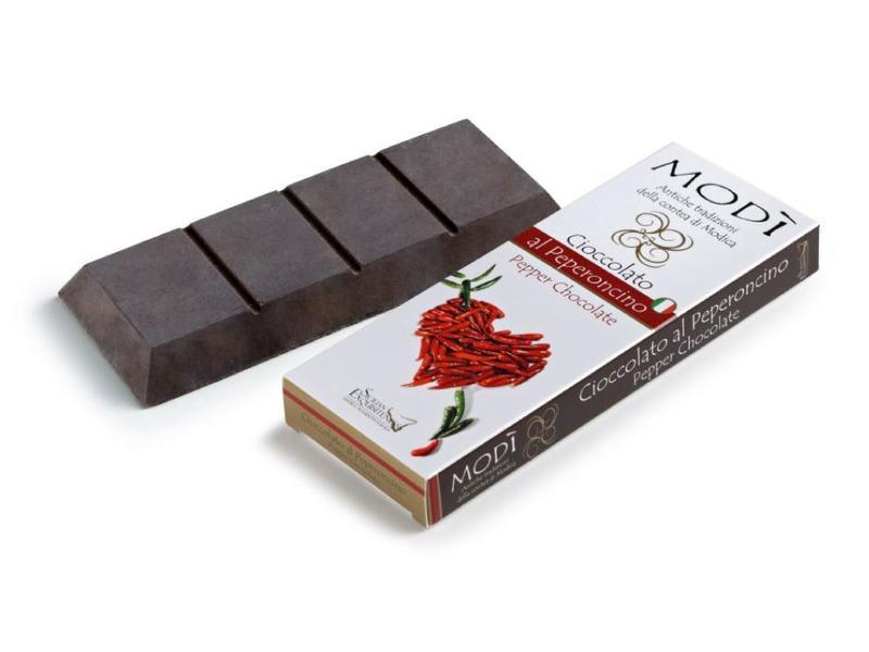 Chocolade bereid in Sicilie, Modica, volgens Azteeks recept, met pepertje