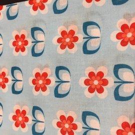 OakiDoki Katoenlapje - bloem lichtblauw rood petrol