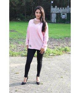 Roze choker trui