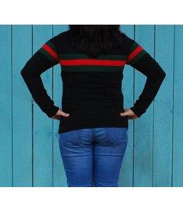 Zwarte trui met groen-rode streep