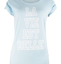 VLVT La vie est belle t-shirt lichtblauw