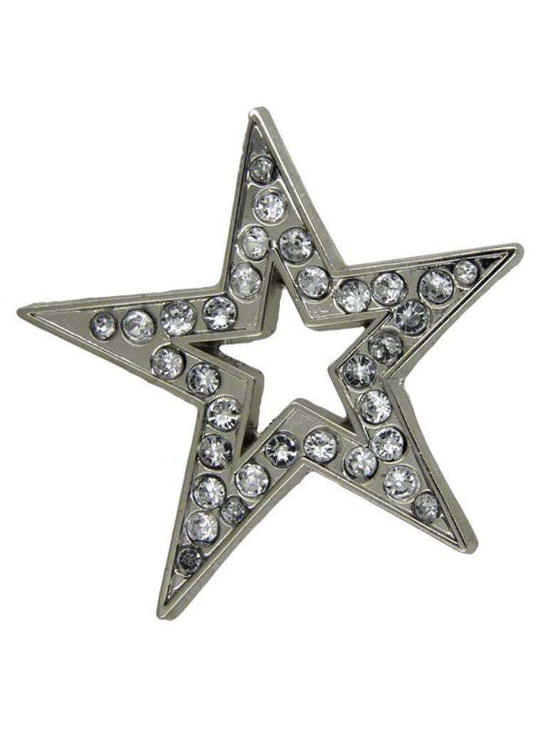 Godert.me Open star rhinestone Pin silber