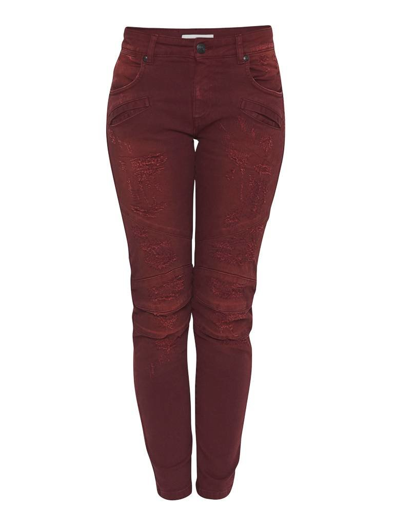 Pierre Balmain distressed jeans red