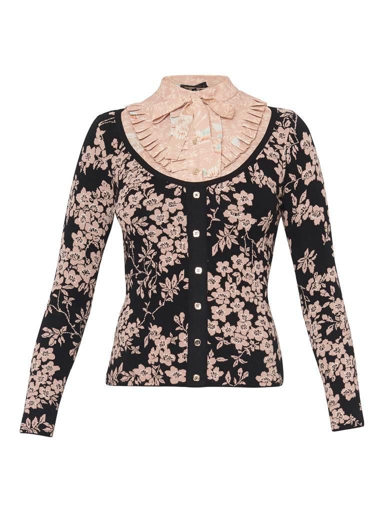 Elisabetta Franchi knitted top met bloemendetails