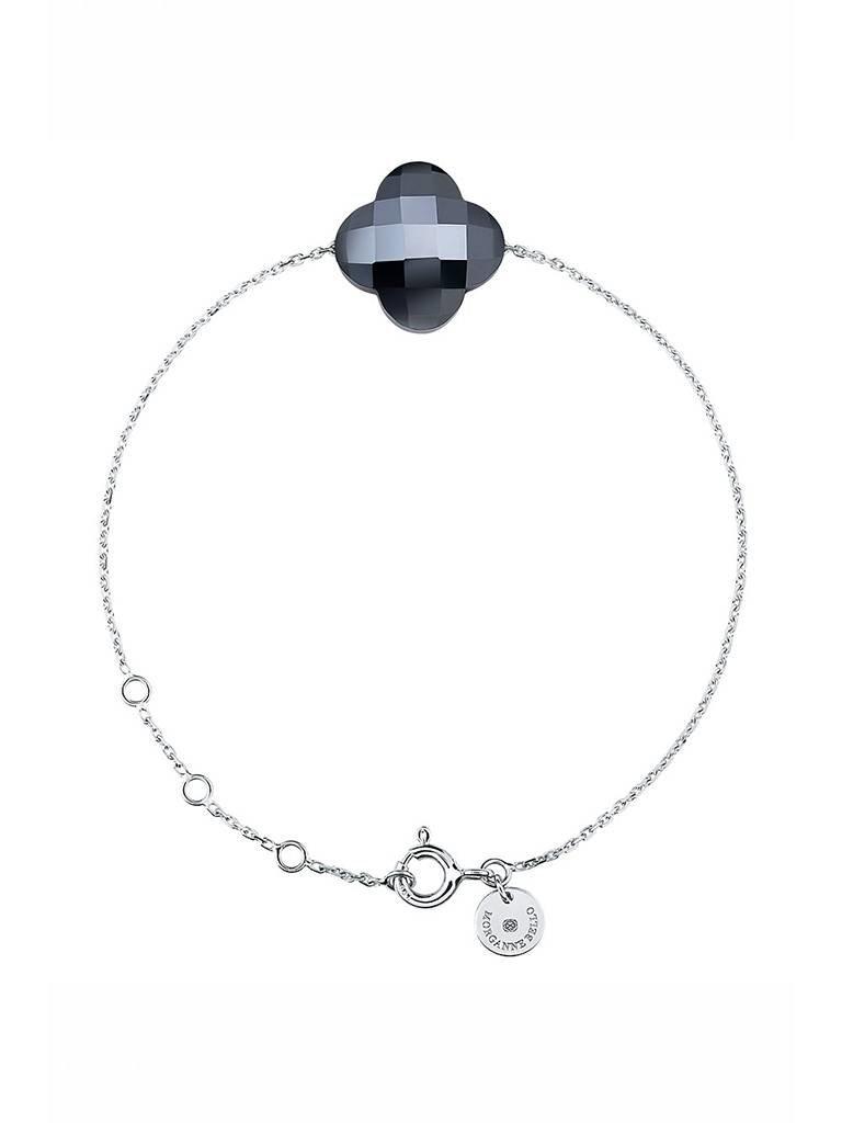 Morganne Bello Armband mit Hämatit Stein  weissgold