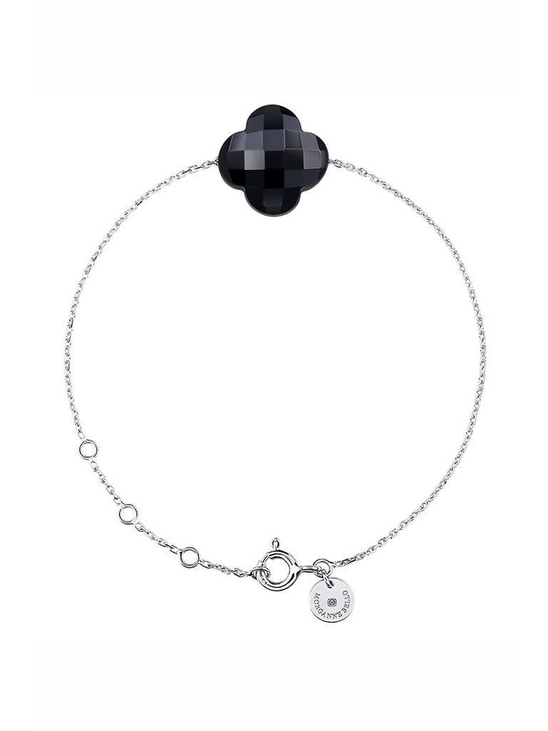 Morganne Bello Armband mit onyx Stein  weissgold