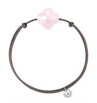 Morganne Bello cord bracelet with pink clover quartz