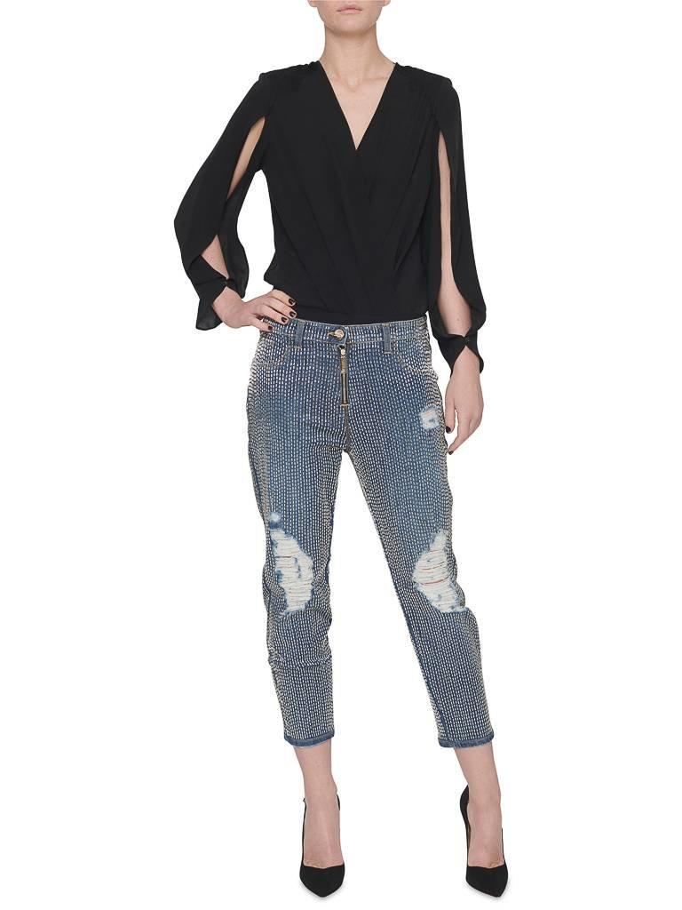 Elisabetta Franchi boyfriend jeans with beads