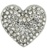 Godert.me Rhinestone heart pin silver