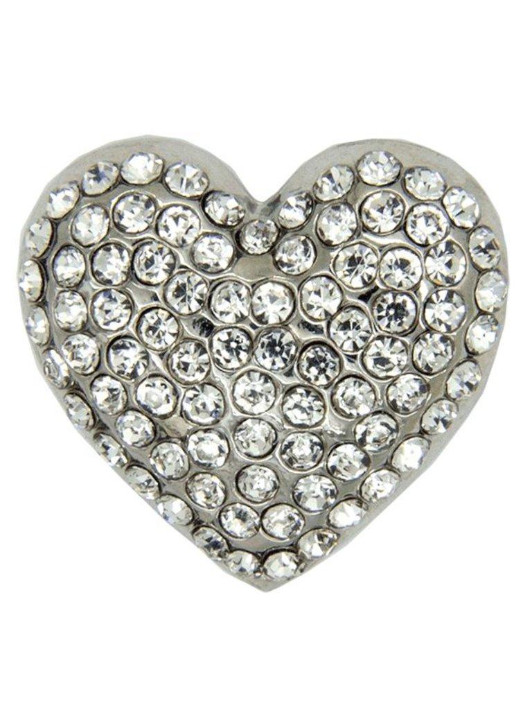 Godert.me Rhinestone heart Stift Silber