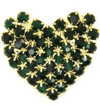 Godert.me Rhinestone heart gold / green
