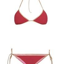 Tooshie Hampton reversible triangle bikini burgundy pink