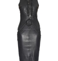 Yirga leather dress with open details black