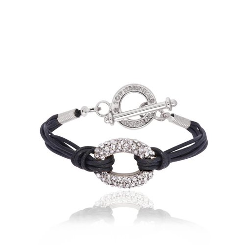 Diamond cords bracelet - White Gold/Black