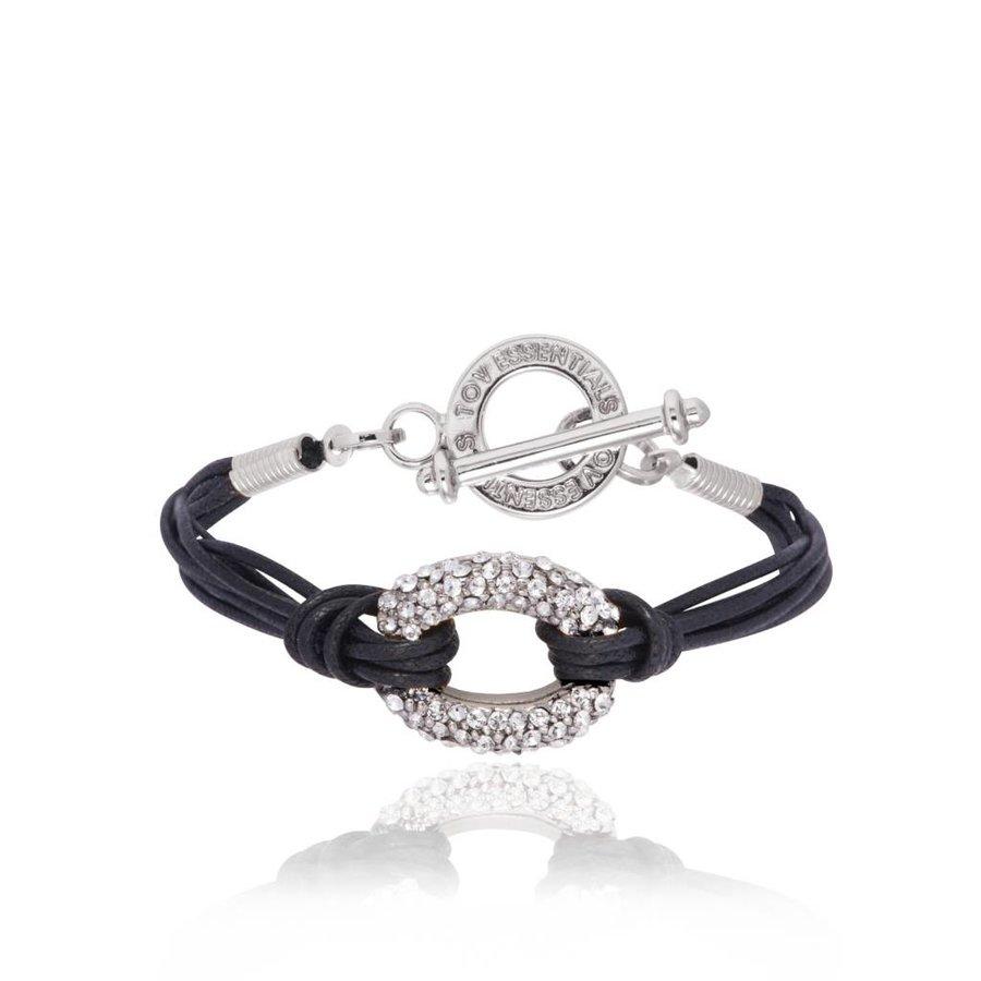 Diamond cords armband - Wit Goud/Zwart