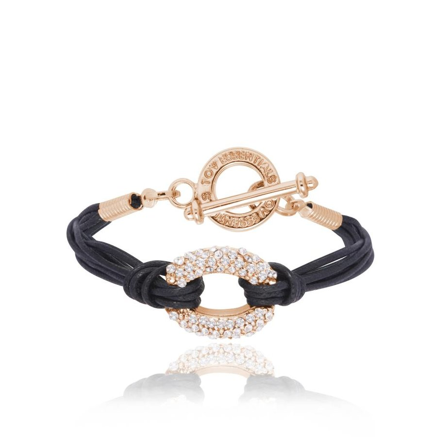 Diamond cords armband - Rose/Zwart