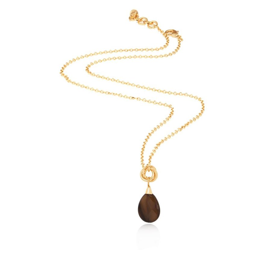 Pure stone ketting - Goud/Donker Bruin