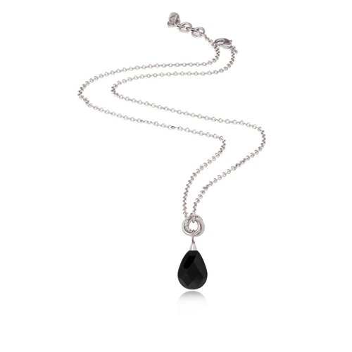 Pure stone necklace - White Gold/Black