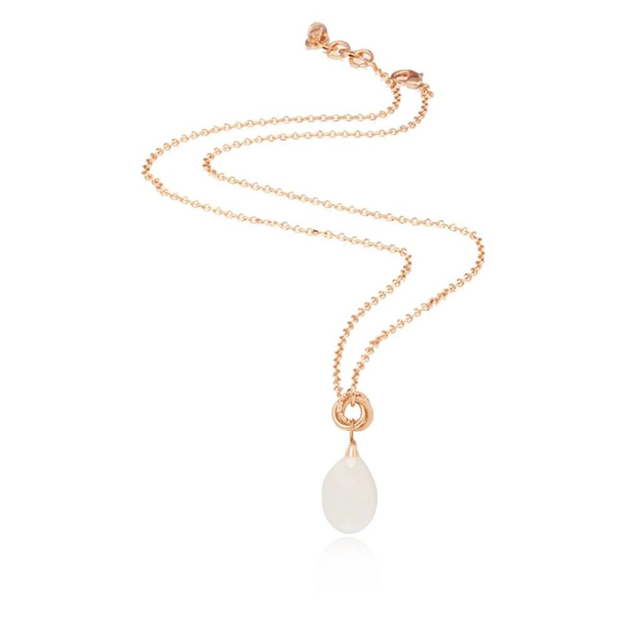 Pure stone necklace - Rose/White Opal