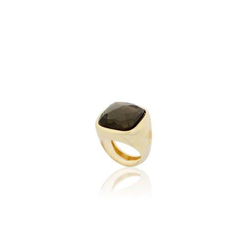Essential gem ring - Gold / Smoke Quartz