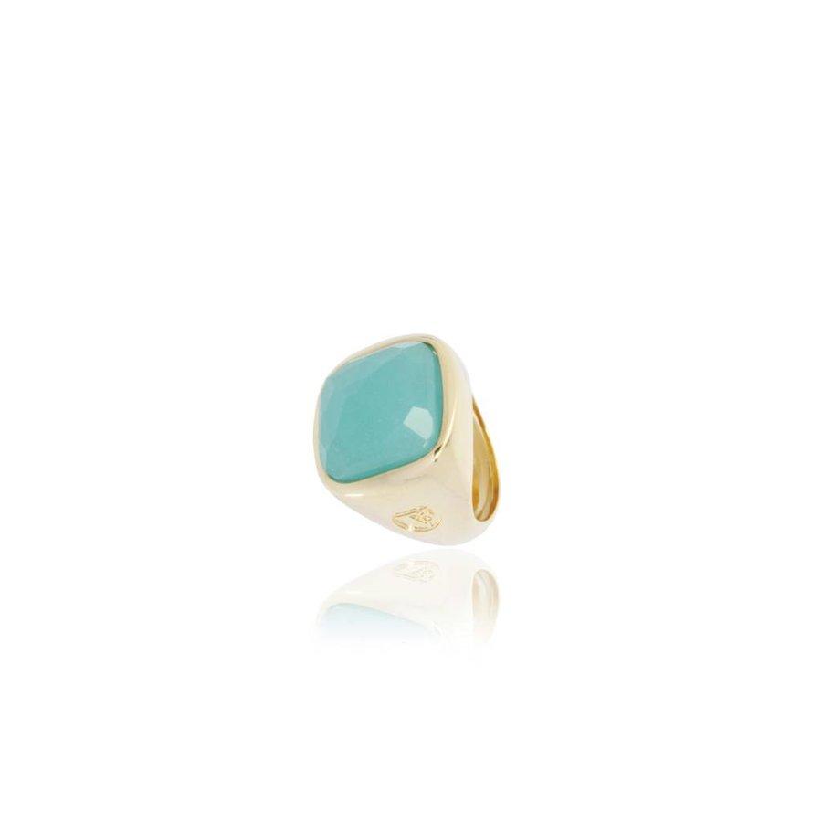 Essential gem ring - Gold / Aqua Green