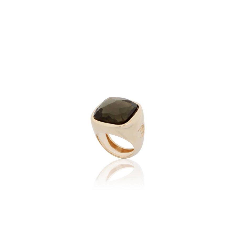 Essential gem ring - Rose/Smoke Quartz