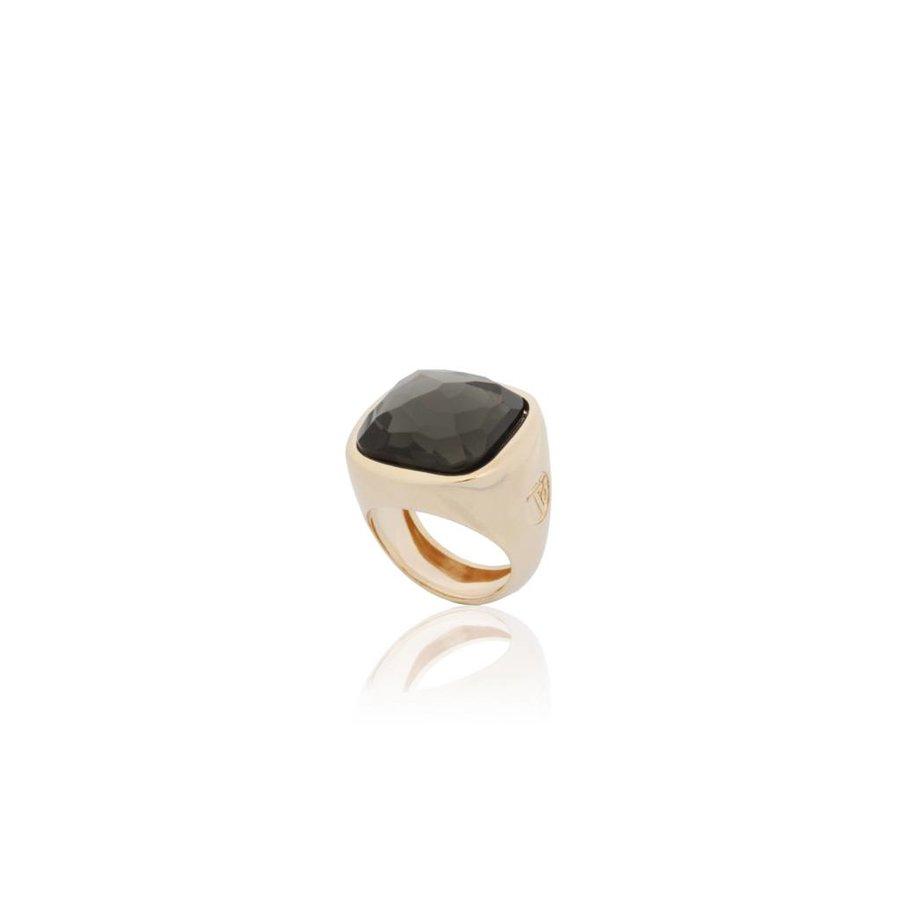 Essential gem ring - Rose / Grey Quartz