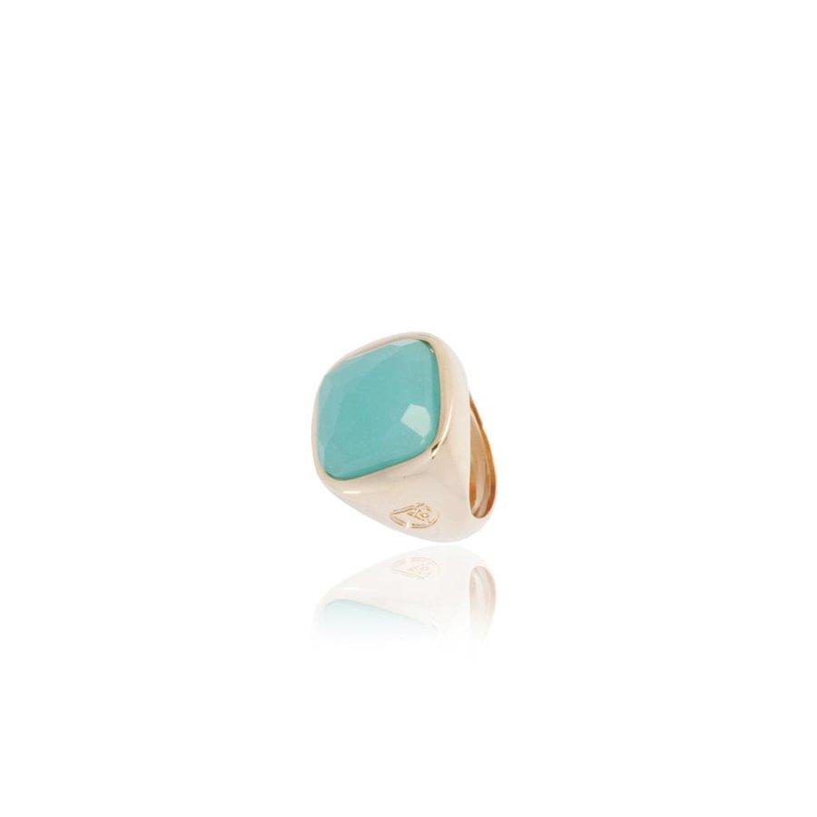 Essential gem ring - Rose/Aqua Groen