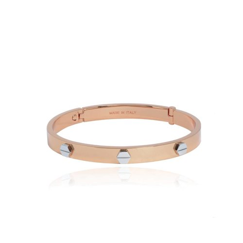 Fine rivets bangle - Rose/White Gold