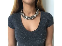 Twisted chain collier - Wit Goud