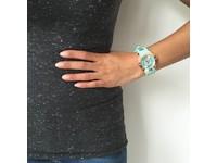 Blue Bay mintgroen/staal horloge