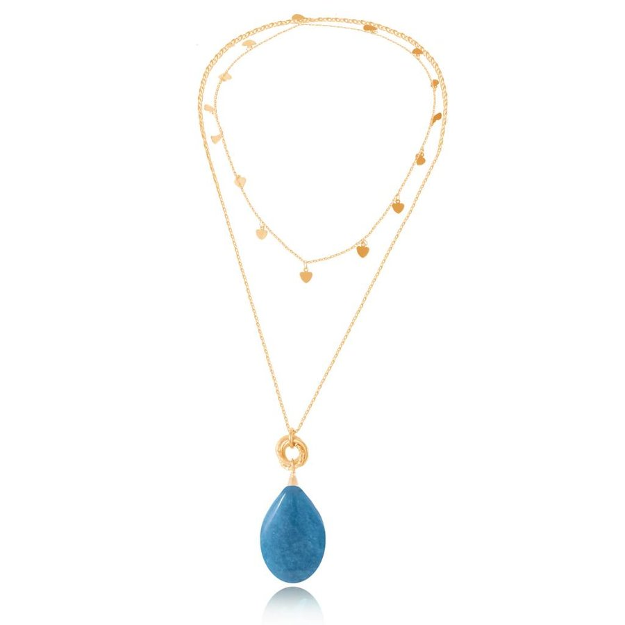 Pure stone lovers necklace - Gold/Caribbean Blue